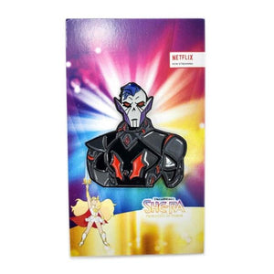 front view of the Hordak Enamel pin on an officially licensed she-ra pin card