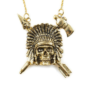 up close of the Indian Chief Necklace in gold from the han cholo skulls collection