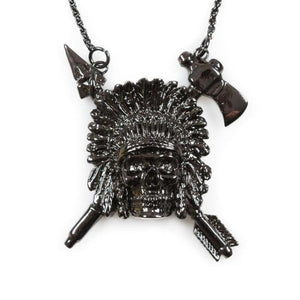 up close of the Indian Chief Necklace in gnumetal from the han cholo skulls collection