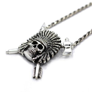 left side of the Indian Chief Necklace in silver from the han cholo skulls collection