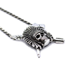 right side of the Indian Chief Necklace in silver from the han cholo skulls collection