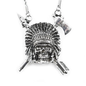up close of the Indian Chief Necklace in silver from the han cholo skulls collection
