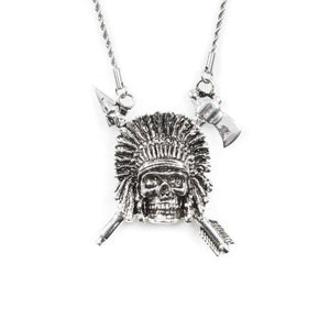front of the Indian Chief Necklace in silver from the han cholo skulls collection