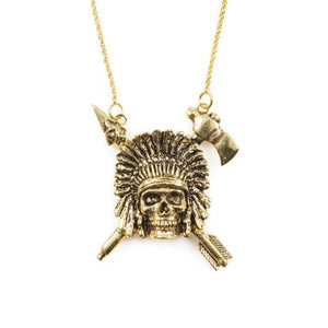 front of the Indian Chief Necklace in gold from the han cholo skulls collection