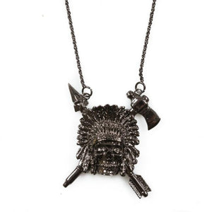 front of the Indian Chief Necklace in gnumetal from the han cholo skulls collection