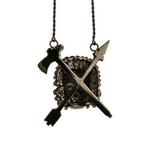 back of the Indian Chief Necklace in gnumetal from the han cholo skulls collection