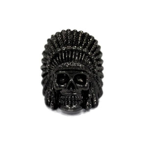 front of the Indian Chief Ring in gunmetal from the han cholo skull collection
