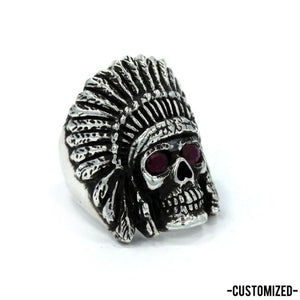 side of the Indian Chief Ring in silver with custom ruby eyes from the han cholo skull collection