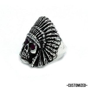 angle of the Indian Chief Ring in silver with custom ruby eyes from the han cholo skull collection
