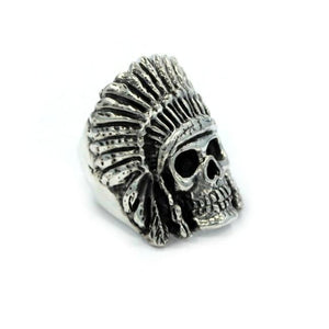 left angle of the Indian Chief Ring in silver from the han cholo skull collection