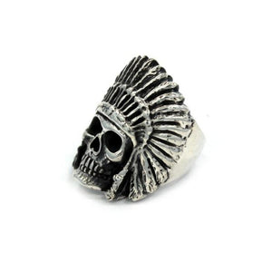 angle of the Indian Chief Ring in silver from the han cholo skull collection