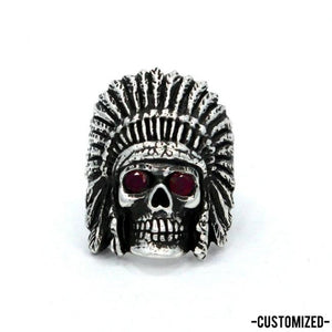 front of the Indian Chief Ring in silver with custom ruby eyes from the han cholo skull collection