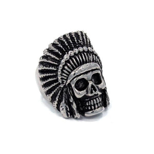 right side of the Indian Chief Ring in silver from the han cholo skull collection