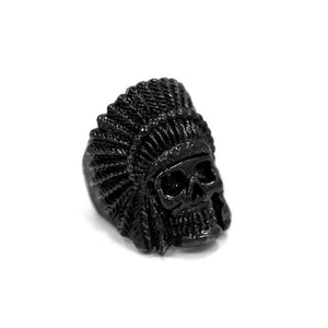 right side of the Indian Chief Ring in gunmetal from the han cholo skull collection