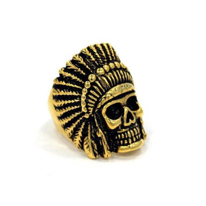 right side of the Indian Chief Ring in gold from the han cholo skull collection