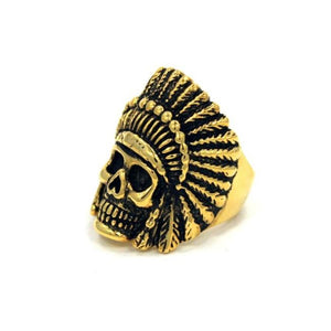 left side of the Indian Chief Ring in gold from the han cholo skull collection