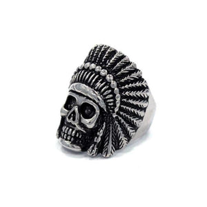 left side of the Indian Chief Ring in silver from the han cholo skull collection