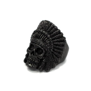 left side of the Indian Chief Ring in gunmetal from the han cholo skull collection