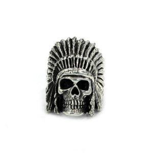 front of the Indian Chief Ring in silver from the han cholo skull collection