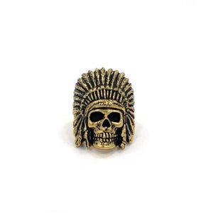 front of the Indian Chief Ring in gold from the han cholo skull collection