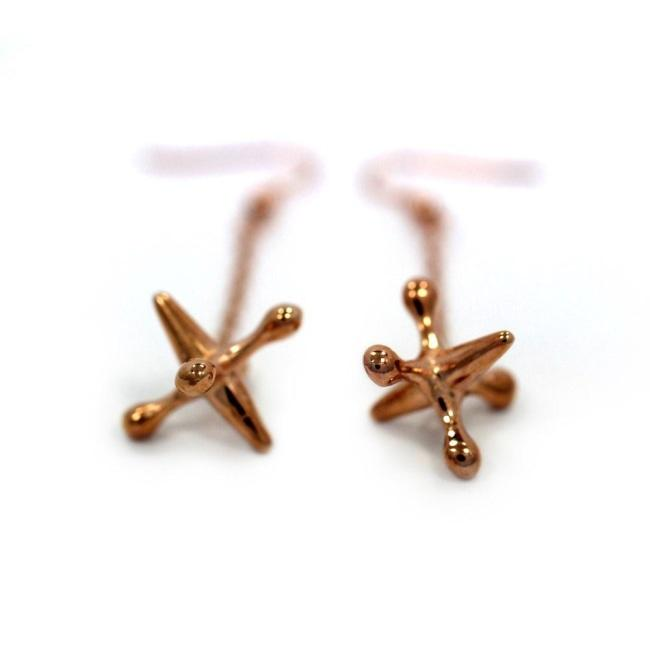 left angle of the Jacks Earrings in rosegold from the han cholo shadow series collection