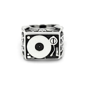 front of the Knights Of The Turntable Ring in silver from the han cholo music collection