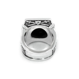 back of the Knights Of The Turntable Ring in silver from the han cholo music collection