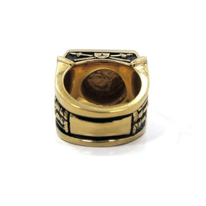 back of the Knights Of The Turntable Ring in gold from the han cholo music collection