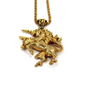up close view of the Last Unicorn Pendant in gold from the han cholo fantasy collection