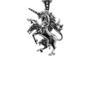 front of the Last Unicorn Pendant in silver from the han cholo fantasy collection