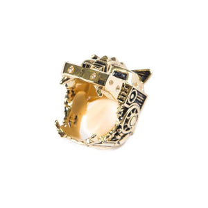 front angle of the Lazarus Ring in gold from the han cholo fantasy collection