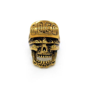 front of the Loco Skull Ring in gold from the han cholo music collection