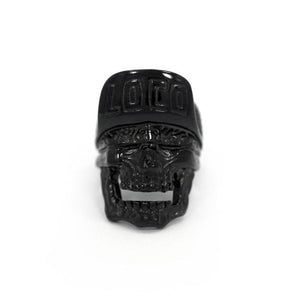 front of the Loco Skull Ring in gunmetal from the han cholo music collection