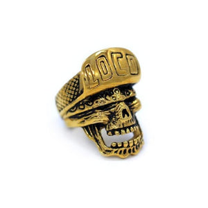 side of the Loco Skull Ring in gold from the han cholo music collection