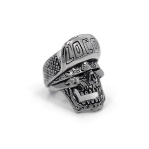 side of the Loco Skull Ring in silver from the han cholo music collection