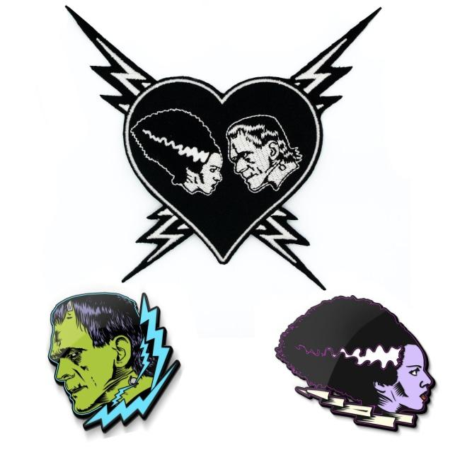 Frankenstein and bride of Frankenstein enamel pin with patch
