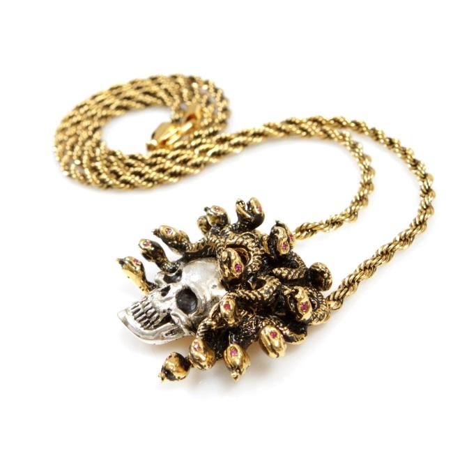 front of the Medusa Skull Pendant in 2 tone from the han cholo fantasy collection