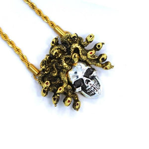 right side of the Medusa Skull Pendant in 2 tone from the han cholo fantasy collection
