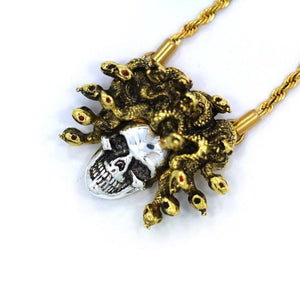 left side of the Medusa Skull Pendant in 2 tone from the han cholo fantasy collection