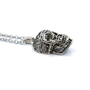 side of the Mesh Skull Pendant in silver from the han cholo skulls collection