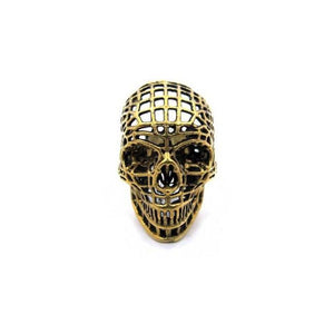 front of the Mesh Skull Ring in gold from the han cholo skulls collection