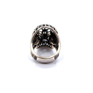 back of the Mesh Skull Ring in silver from the han cholo skulls collection