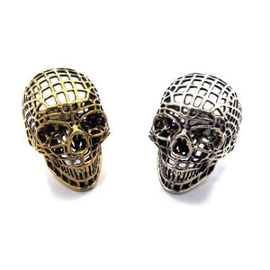 shot of the mesh skull ring in silver and gold from the han cholo skulls collection