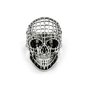 front of the Mesh Skull Ring in silver from the han cholo skulls collection