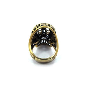 back of the Mesh Skull Ring in gold from the han cholo skulls collection