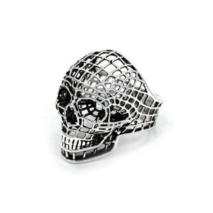left side of the Mesh Skull Ring in silver from the han cholo skulls collection