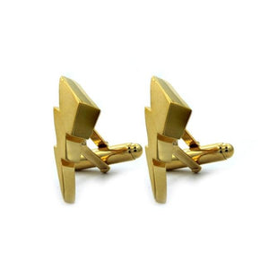 side angle of the Mighty Morphin Power Rangers Cufflinks in gold on a white background