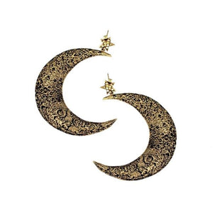 staggered shot of the Moon Earrings in gold from the han cholo fantasy collection