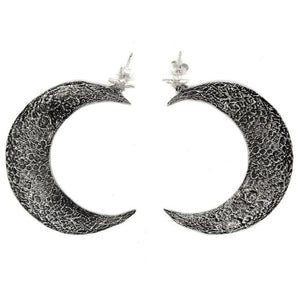 back of the Moon Earrings in silver from the han cholo fantasy collection