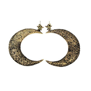front shot of the Moon Earrings in gold from the han cholo fantasy collection